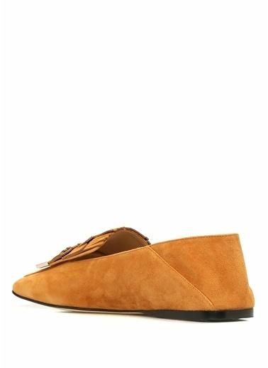 Sergio Rossi %100 Süet Loafer Ayakkabı Taba